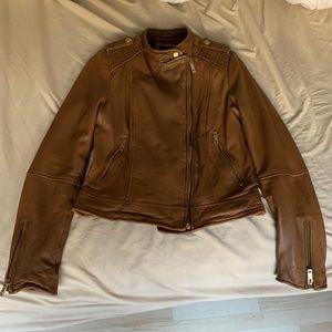 Zara brown genuine leather jacket women's size L